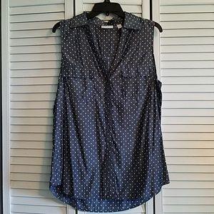 New York & Company Sleeveless Button Shirt Size L